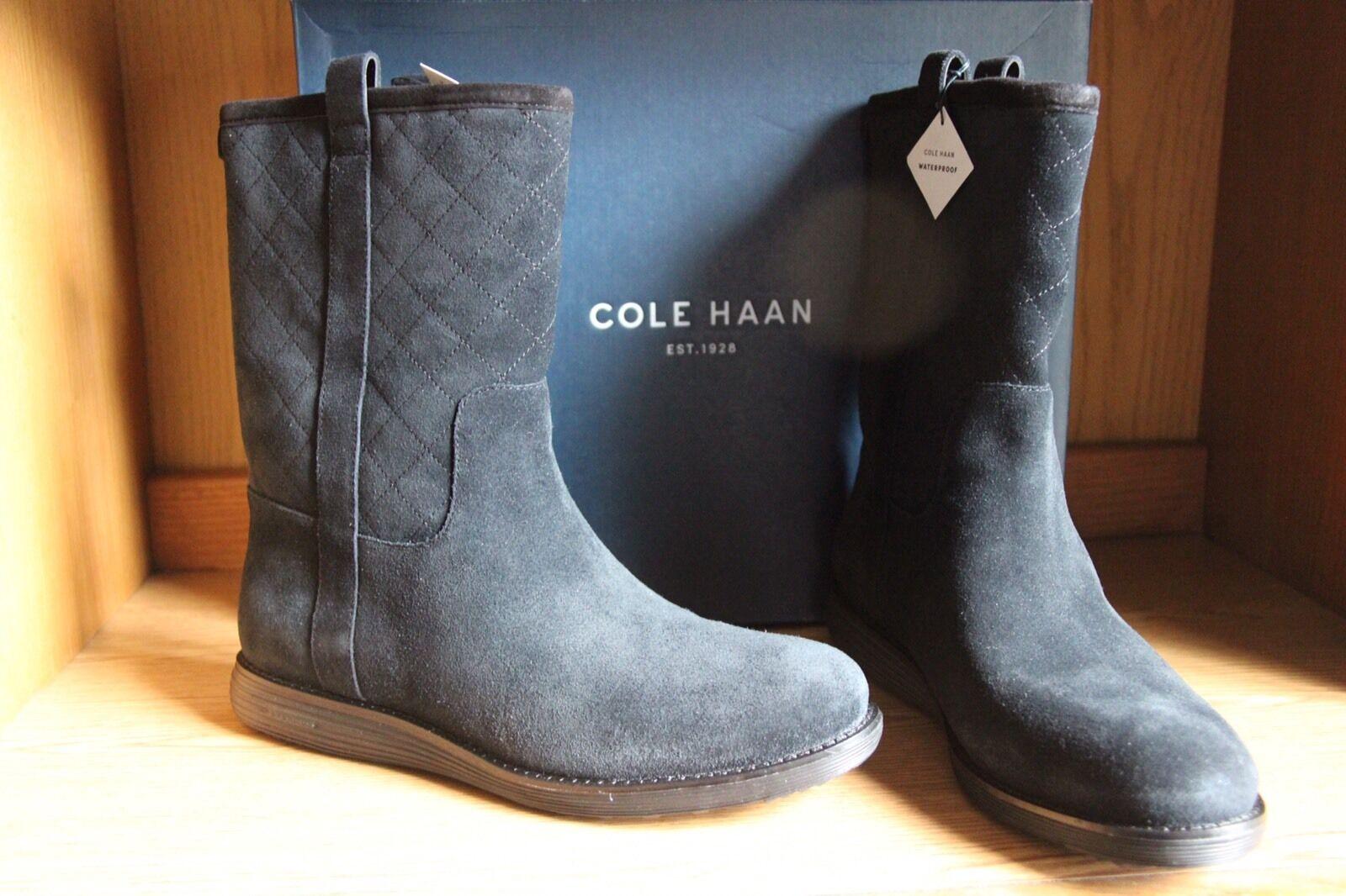 Cole Haan Roper Grand Waterproof Suede Leather Boot Black Women Size 9.5  W04574