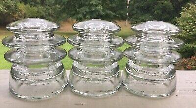Lot of 3 Vintage CD 203 Kerr Clear Glass Insulators DIY Pre-drilled Xx