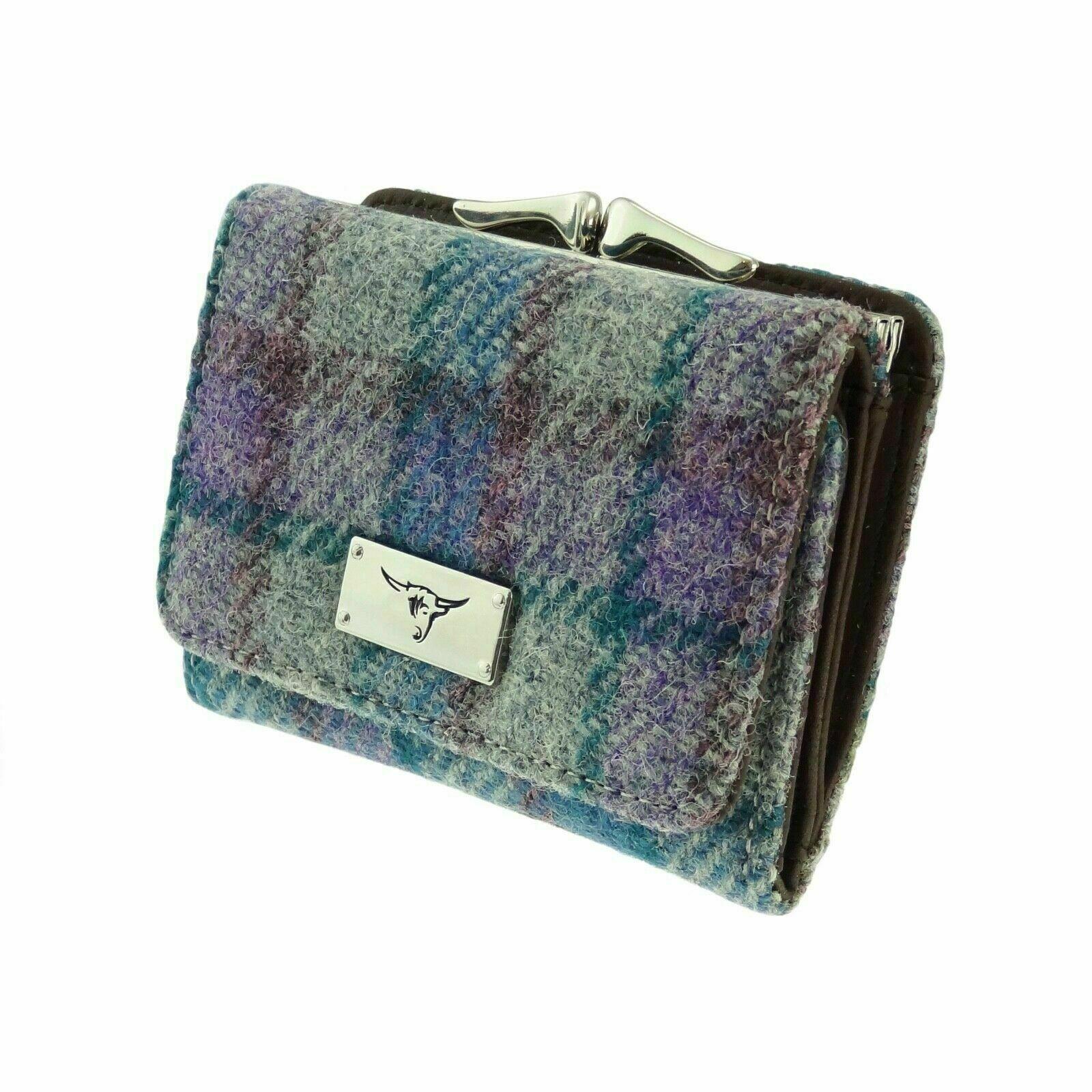 Ladies Harris Tweed Clasp Purse Unst Blue/Purple Check on Grey COL98 Brand New