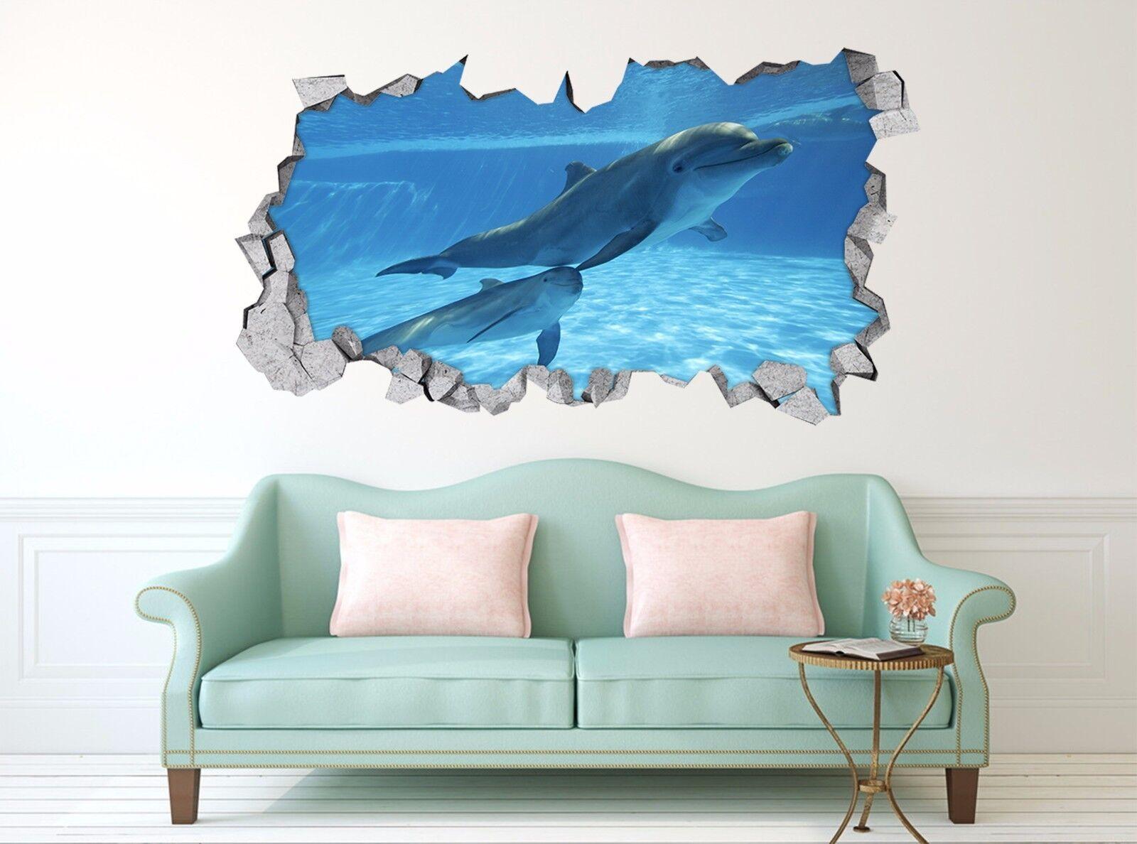 3D Netter Delphin 7 Mauer Murals Mauer Aufklebe Decal Durchbruch AJ WALLPAPER DE