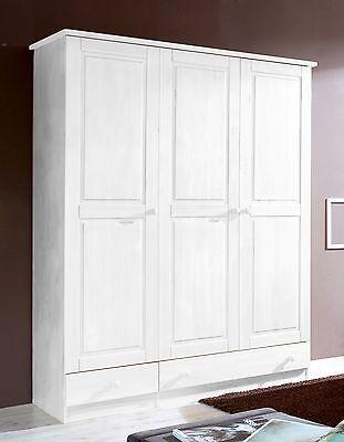 Armoire commode dressing MORITZ 3 portes Pin teinté blanc