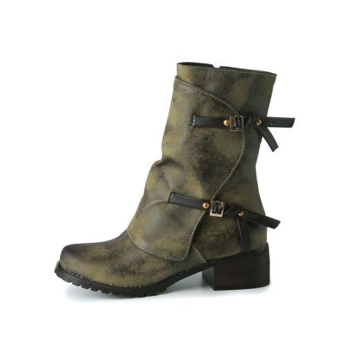 34-45 Women Work Office OL Zip Up Round Toe Chunky Heel Buckle Motorcyle Boots D