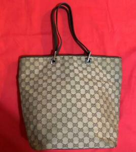 Auth-Gucci-Shoulder-Bag-Tote-GG-Canvas-Monogram-USED-Brown-Women-Purse-G0555