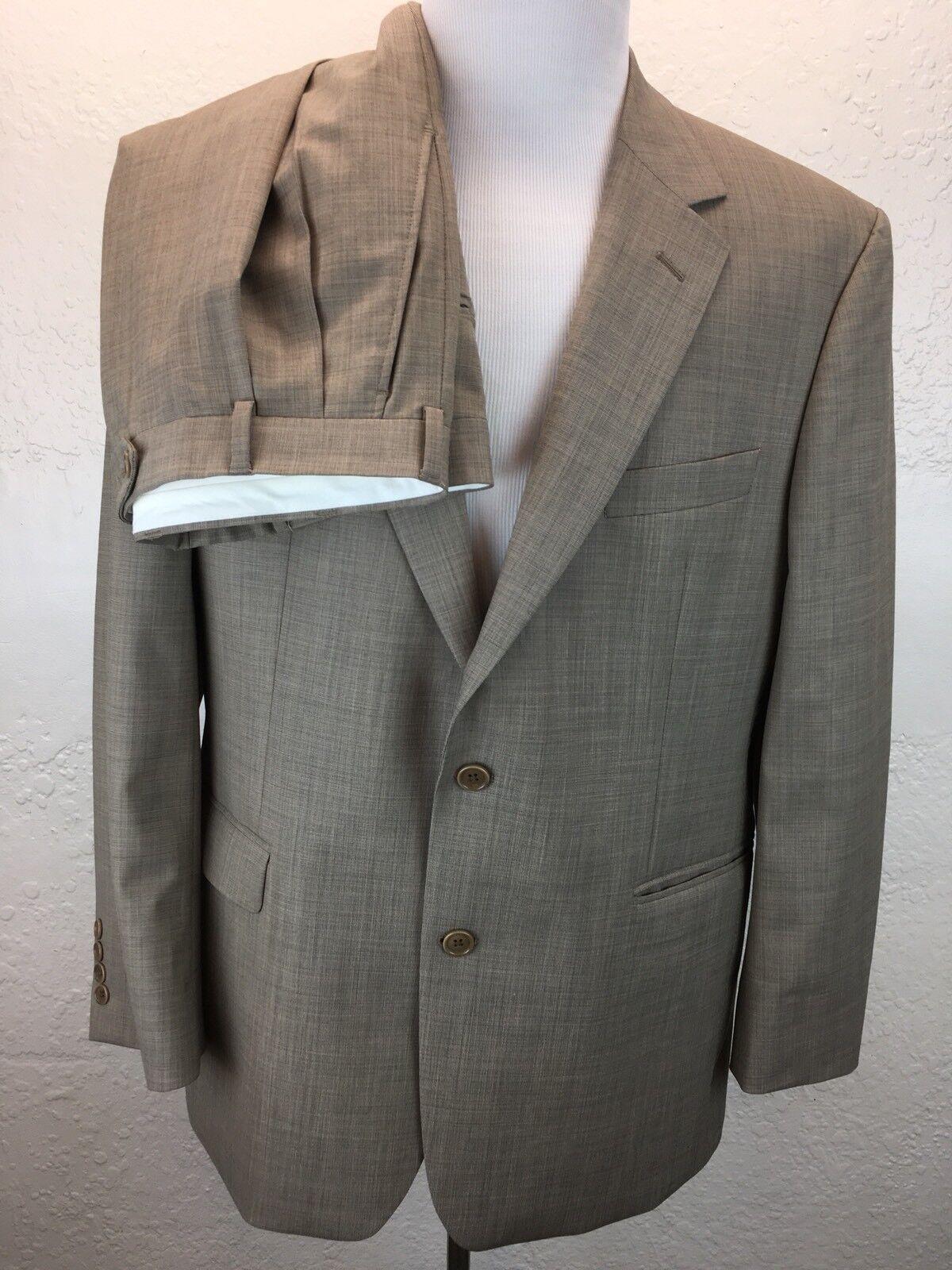 S6 Brooks Bredhers 346 44R 37X28.5 96% Wool Stretch Tan 2Pc Suit 2-Btn Pleated