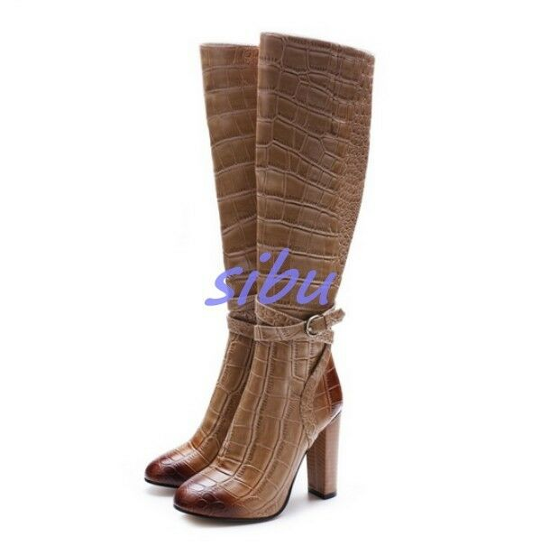 Elegant Womens Womens Womens Leather shoes Strap High Block Heels Round Toe Knee High Boots sz aa5b2b