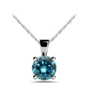 4ea4b3e30 0.50 Carat Blue Diamond Pendant 14K White Gold Solitaire Necklace 18 ...