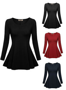 Womens-Long-Sleeve-Career-Top-Tunic-Scoop-Neck-Casual-Slim-T-shirt-Peplum-Blouse