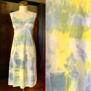 DYED PETALS Vintage Eco-Dyed Tie-Dyed Slip Dress S/M 36