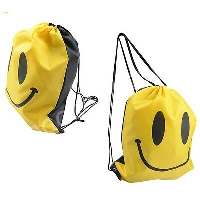 3 Colors Pick Cute Smilling Drawstring Nylon Backpack Swimming Beach Travel Bags