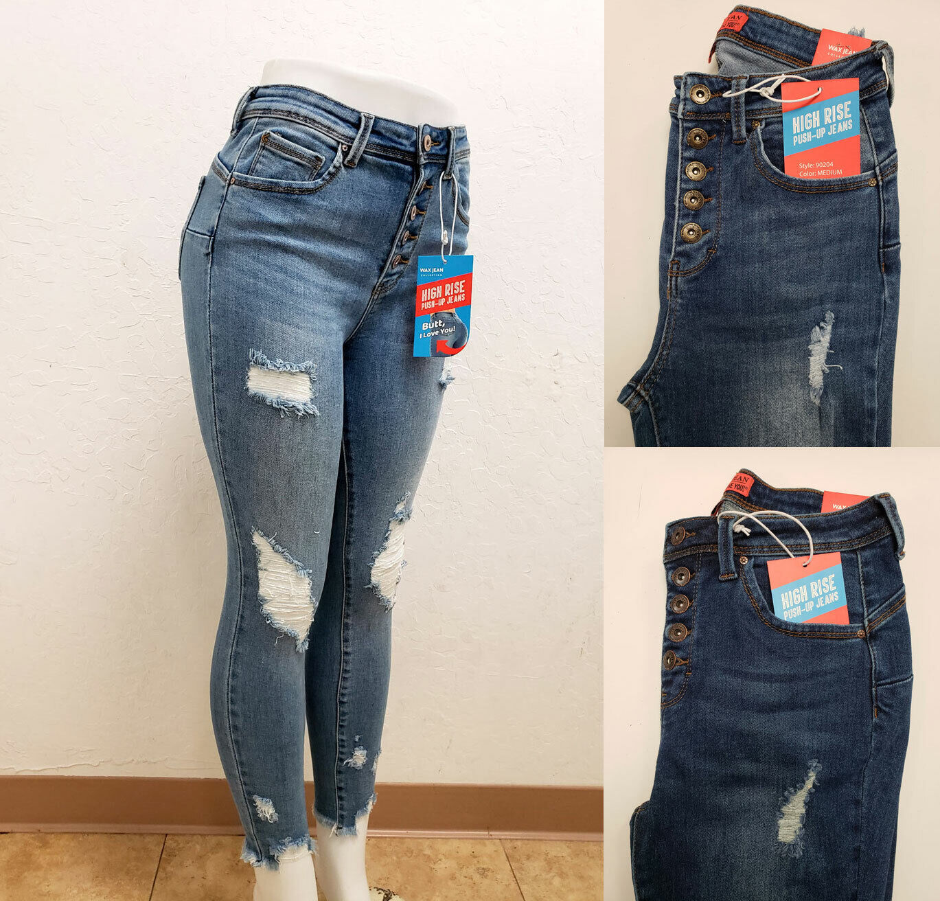 Women High Rise Exposed Button Fly Tiendamia Com
