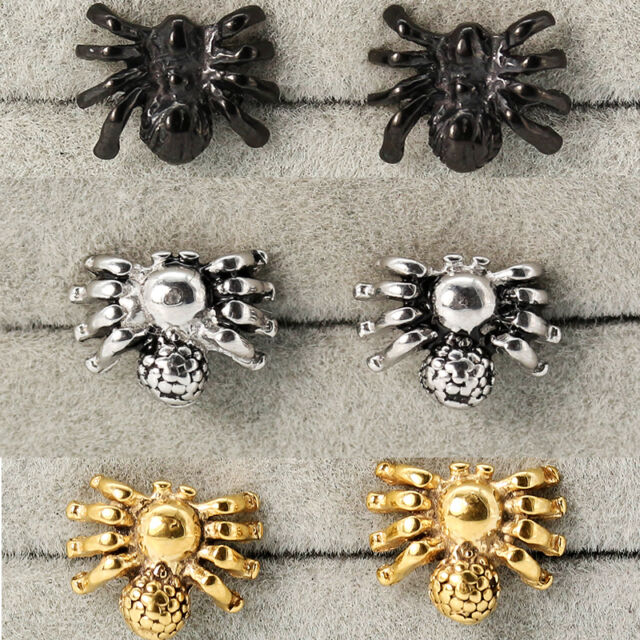 Fashion Punk Spider Stainless Steel Studs Earrings Jewel Black Silver Unisex CA