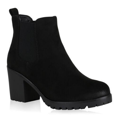 893788 Damen Stiefeletten Schuhe Chelsea Boots Blockabsatz Trendy