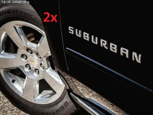 2x OEM Chrome SUBURBAN Nameplate EMBLEM Letter for GM Chevrolet Glossy YU