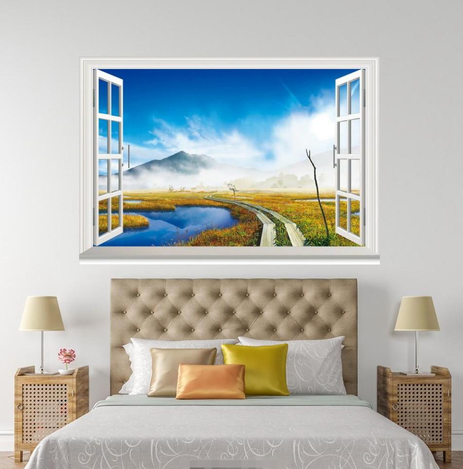 3D Meadow View Sky 18 Open Windows WallPaper Murals Wall Print AJ Carly