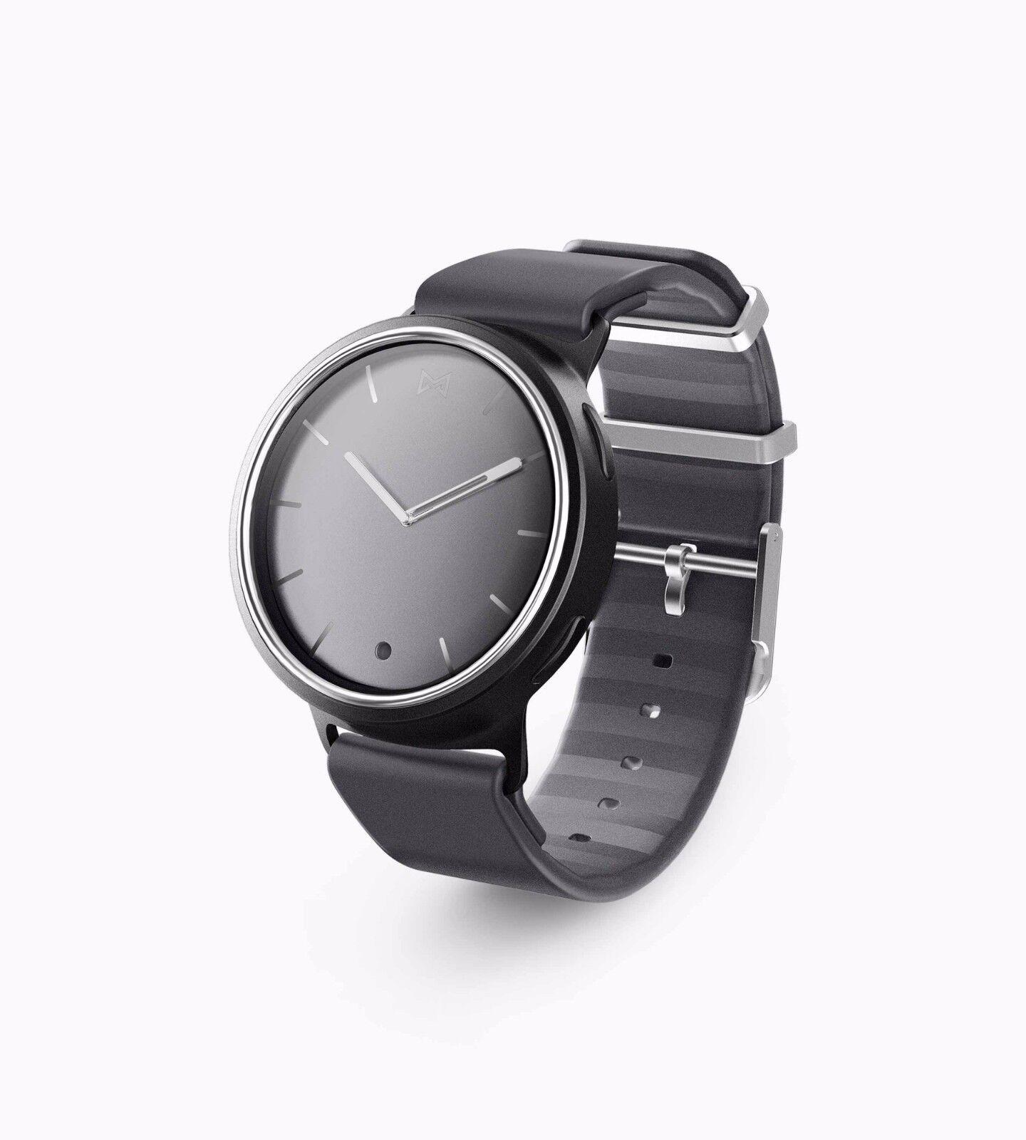 Inadaptado Unisex De Aluminio Caja De Acero Negro Correa de Silicona Reloj MIS5011