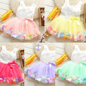 bac42b2e599 Baby Kids Girl Toddler Princess Pageant Party Tutu Dress Lace Bow ...