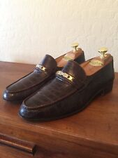 Mint Vintage Gucci Brown Crocodile Alligator Bit Loafers Shoes Mens 41.5 Italy