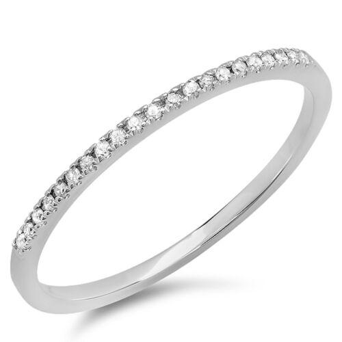 Size 5 0.08 Carat 10k White Gold Diamond Ladies  Wedding Band Stackable Ring