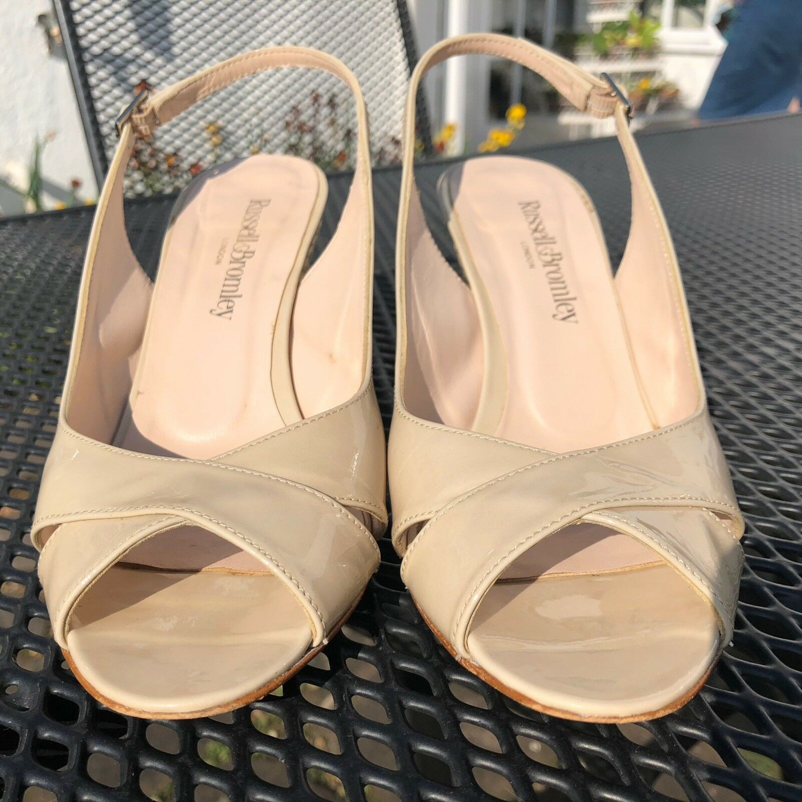 Russell & Bromley Nude Patent Sandales Leder Sandales Patent 494a12