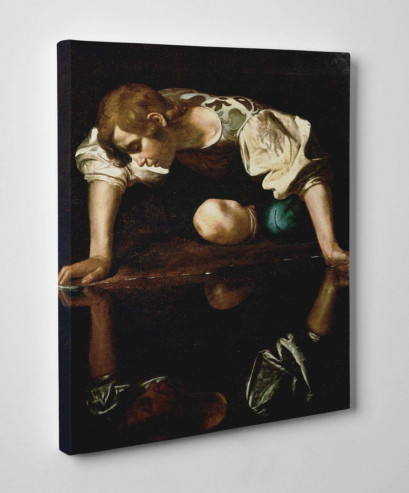 Quadro Caravaggio Narciso Stampa su Tela Canvas Vernice Pennellate  ️