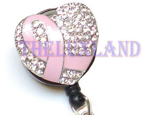 Rhinestone-retractable-ID-badge-holder-reel-w-Bulldog-Clip-Pink-Ribbon-Heart