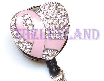 Rhinestone retractable ID badge holder reel w/ Bulldog Clip - Pink Ribbon Heart