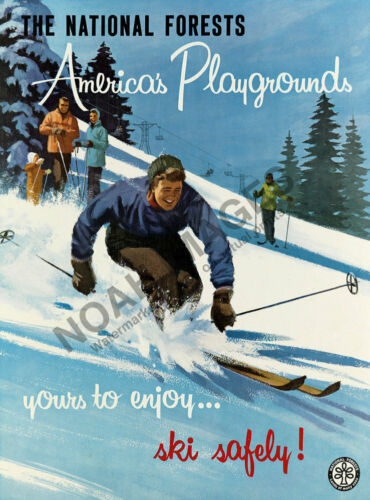 National Forest Americas Playgrounds Ski Safely vintage travel poster repro 18x2