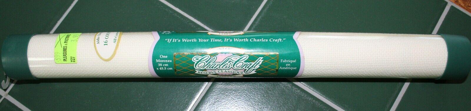 "Charles Craft Cross Stitch 16 Count Aida Cotton Cloth 6 Color Choices 15x18/"" NIP"