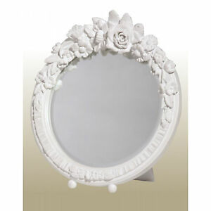 Floral-White-Shabby-Chic-Sturdy-Round-Free-Standing-Decorative-Table-Wall-Mirror