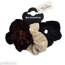 3 Pack Set Soft Velvet Hair Scrunchies Ponio Elastic Band Tie Brown Beige Cream