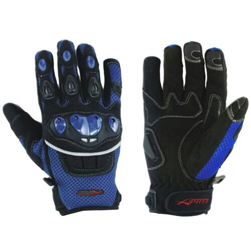 Gloves Textile motorcycle knuckles Protection Summer Racing Biker Cross Blue M