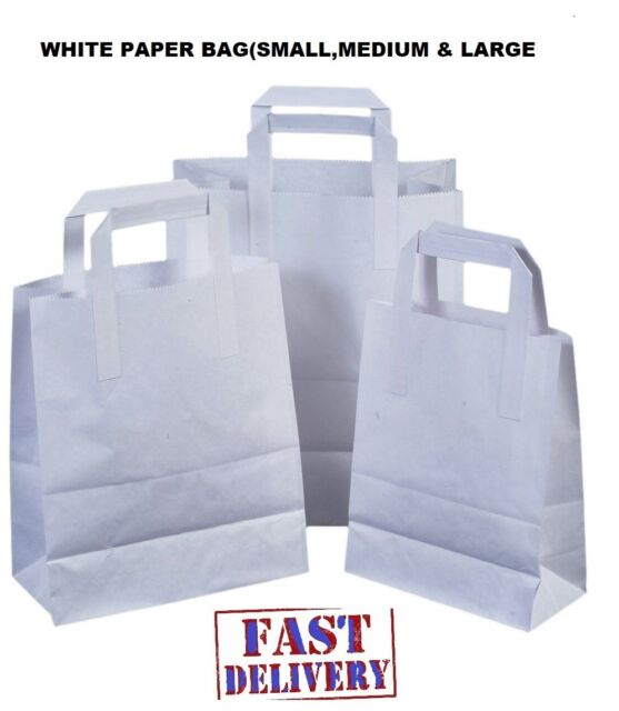 30pcs 18x5x8cm White Kraft Paper Bags Shopping Mechandise Party Gift Holiday