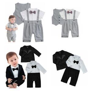 fd0e174a7 Baby Boys Gentleman Outfits Tuxedo Vest Party Romper Suit Set ...