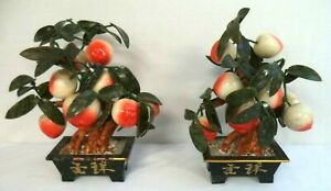 AWESOME-VINTAGE-ESTATE-ASIAN-GLASS-PEACH-FRUIT-amp-JADE-13-034-BONSAI-TREE-SET