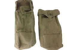 Pair MKIII Ammunition Pouch British 37 Pattern Khaki Cotton WWII Era GB Used