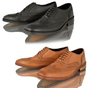 Image Is Loading Mens Real Leather Tan Brogue Lace Casual Smart