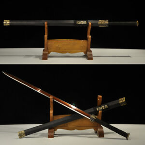 Full-Tang-Red-Damascus-Folded-Steel-Blade-Chinese-Sword-Han-Jian-Sharp-Edge