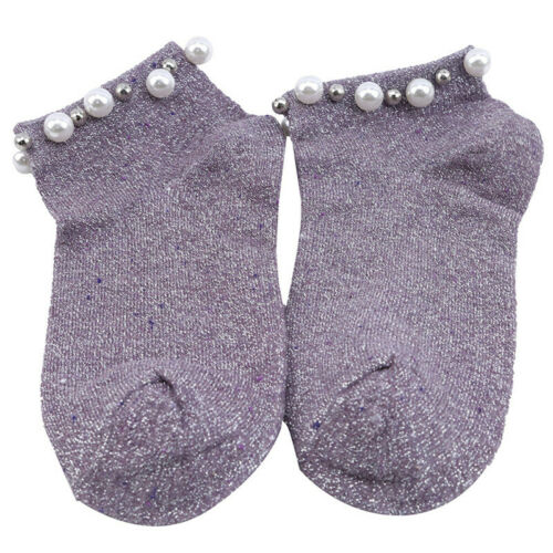 Modern Women Girls Lady Glitter Shiny Pearl Socks Summer Bead Meias Ankle Sox N7