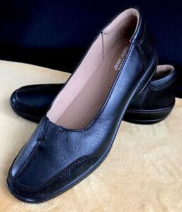 ladies hotter gillian black leather slip on comfort casual