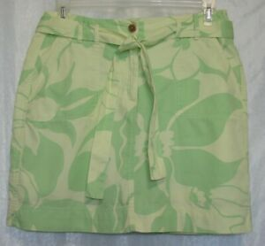 Land-039-s-End-Yellow-amp-Green-Floral-Size-10-Skort-Skirt-Pockets-amp-Matching-Belt