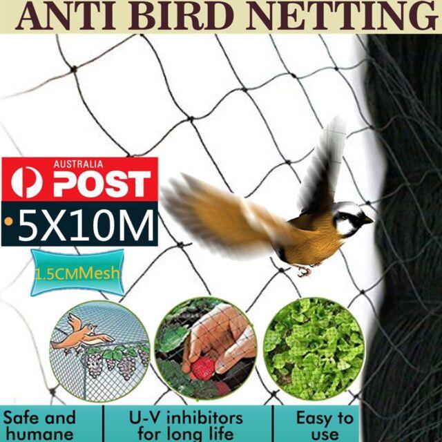 5x10m Mesh Commercial Fruit Tree Plant Knitted Anti Bird Netting Pest Net 1.5CM