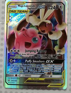 Pokemon-card-Mega-Lopunny-amp-Jigglypuff-GX-165-236-HOLO-FULL-ART-Mint-PROXY-CARD