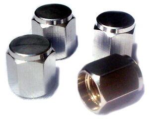 4x-Hochglanz-PKW-Ventilkappe-Messing-Chrom-Mod-HEXAGON-fuer-Designliebhaber