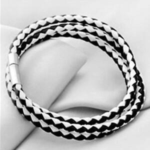 Fashion-Womens-Mens-Leather-Interlaced-Cuff-Bangle-Wristband-Bracelet-C-X1