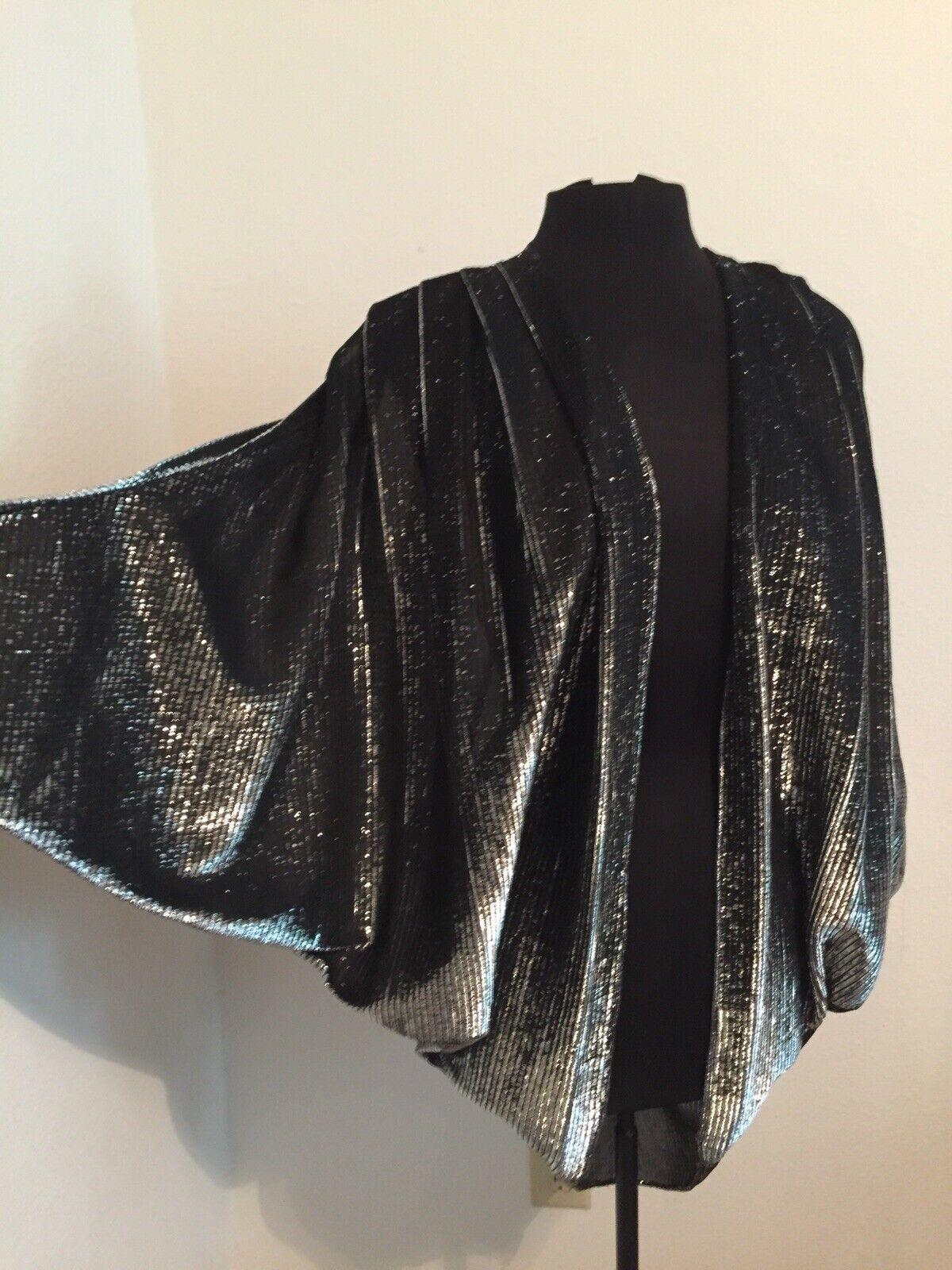 ❤️Vintage Metallic Disco Batwing Cocoon Rocker Jacket Dolman Cape