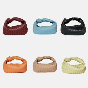 Small Mini Woven Microfiber Leather Draped Knot Pouch Clutch Hobo Bag Purse Tote