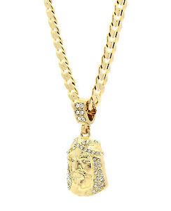 Mens-14k-Gold-Plated-Cz-Jesus-Face-Pendant-Hip-Hop-24-034-Cuban-Necklace-Chain