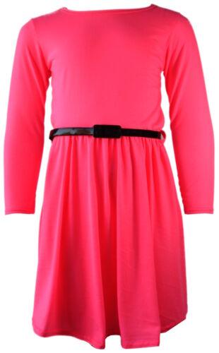 Neu Mädchen Einfarbig Retro Skaterkleid Lang Ärmel Mit Gürtel Age Größe 7 9 11