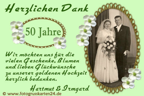 Thanksgiving Cards Golden Anniversary-Gold Wedding Thankyou Photo Envelopes