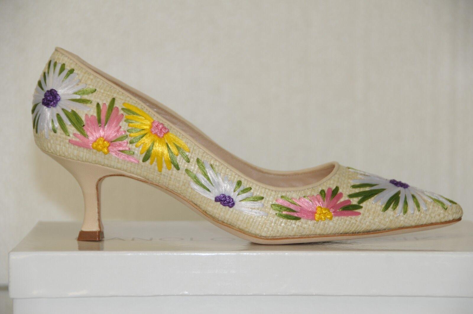 1895 New MANOLO BLAHNIK BB Newciofi Flower Raffia Nude SHOES Kitten 41 41.5